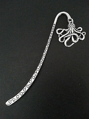 New Antique Silver Metal Bookmark with Octopus Charm Sea Life Accessory Gift