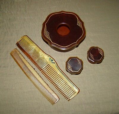Pyralin Arlington Hair Receiver Pill Box 2 Celluloid Combs Vanity Boudoir Set