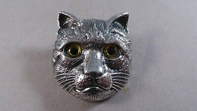 Superb Sterling Silver Cats Face Pin / Badge / Brooch / Pendant