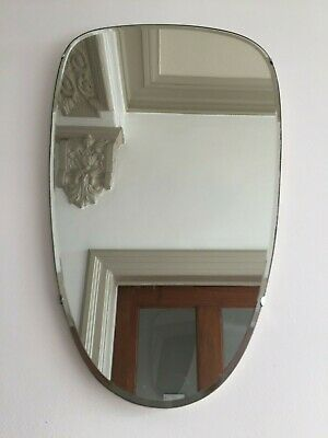 Vintage Retro Frameless Hall Wall Mirror Vertical Mid Century 1960s 55x32cm m176