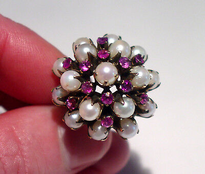 Antique Art Deco 10K Ruby & Pearl Tiered Dome Ring