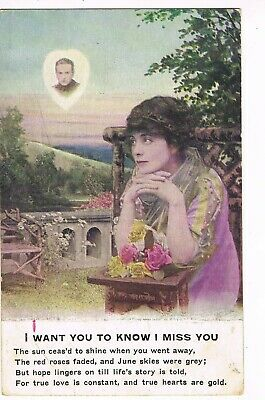 "ANTIQUE ROMANCE Postcard      ""I WANT YOU TO KNOW I MISS YOU"", POEM"