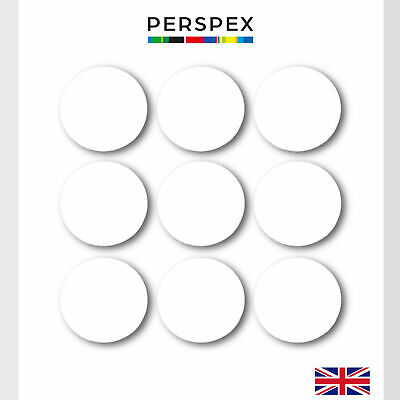 Laser Cut white Acrylic  Circle Discs Perspex Various Sizes small Arts & Crafts