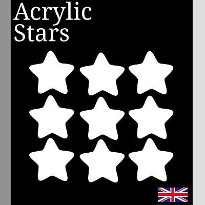 Laser Cut white Acrylic Plastic star Perspex Various Sizes small Arts & Crafts
