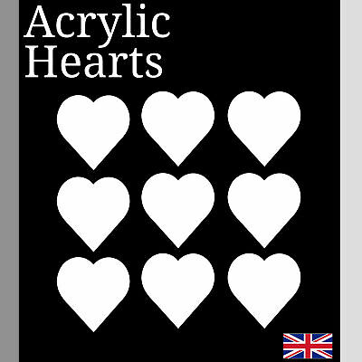 Laser Cut white Acrylic Plastic heart Perspex Various Sizes small Arts & Crafts