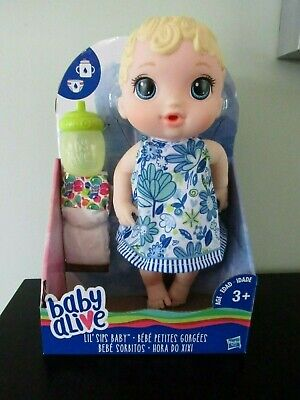 Baby Alive~Lil' Sips Doll~NIB Sippy Cup & Diaper~Drink & Wet~Blue Dress  New!