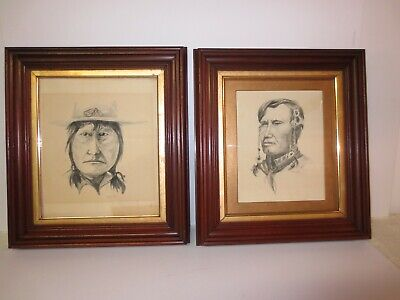 Antique set of 2 drawings/watercolors in walnut frames under glass
