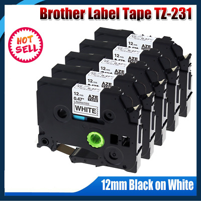 5 Pk TZe-231 TZ-231 Laminated Compatible Brother P-touch TZe Label Tape 12mm