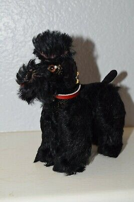 "Steiff ""SNOBBY"" 5"" mohair dog/puppy/poodle with brown glass eyes-silver button"