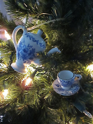 White China Teapot & Teacup Ornament with Blue Floral Design,Gold Trim, New 2 pc