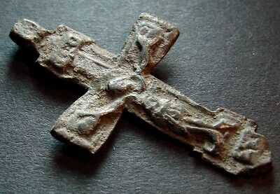 ANCIENT BRONZE CROSS RARE. RELIGIOUS ARTIFACT 15 - 16 CENTURY. 41 mm. (R.015)