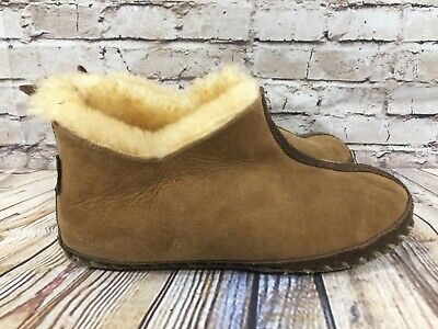 909881317 CABELA'S WOMENS BOOTIE Slippers Leather Shearling Brown 6 - $14.99 ...