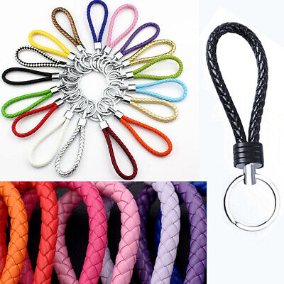 Two PCS Circle Multi-Color Leather Rope Strap Weave Key ring Key chain KeyFob