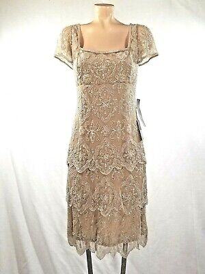 NWT Beaded Dress Pissaro Nights Nordstrom Champagne Nude Tiered MOB Wedding 10
