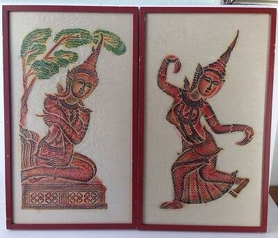 Antique Framed Temple Rubbing Rice Paper Thai Buddhist Color Vtg Set Picture Red