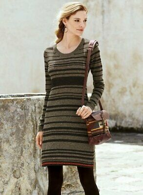 3c3b94fc6aac4 PERUVIAN CONNECTION Sz S Small Sicuani Brown Stripe Baby Alpaca Sweater  Dress