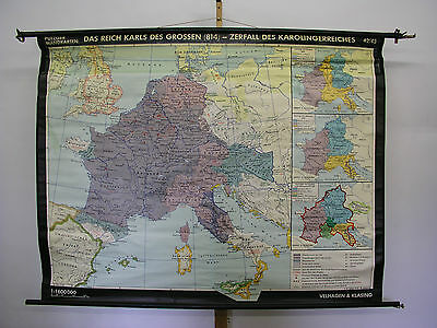 Schulwandkarte Beautiful Wall Map School Role Karl the Great 183x141 1966