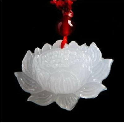 100% Natural Hand-carved Chinese Hetian Jade Pendant Lotus Flower