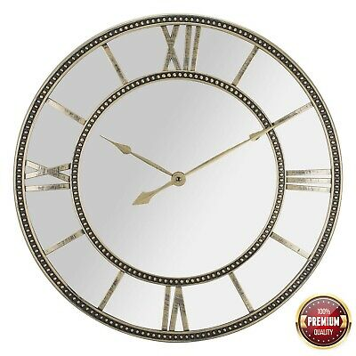Vintage Gold Champagne Metal Beaded Mirror Wall Clock with Roman Numbers 56 cm