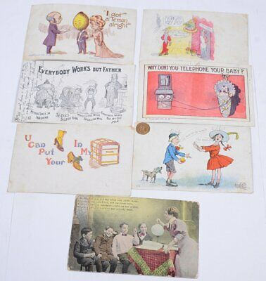 Lot (7) Vintage 1906 Humorous Comical Funny Postcards Hand Colored