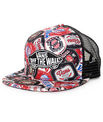 dc805964164 Vans Off The Wall Classic Patch Checker Labels Trucker Hat Red Black NWT Cap