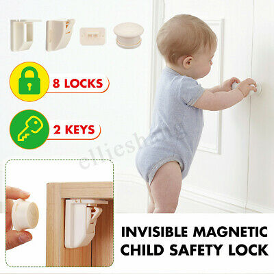 21Pcs 8+2 Magnetic Baby Pet Proof Cupboard Cabinet Lock Child Drawer Safety Lock