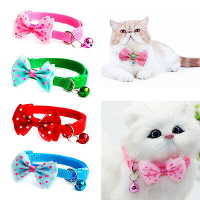 Pet Bowknot Necktie Collar Dog Cat Cute Bow Tie Bell Kitten Adjustable Puppy 1Pc