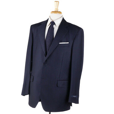 bd805ae0e NWT $1395 LUBIAM Classic-Fit Navy Stripe Zegna Trofeo Fabric Wool Suit 42 R