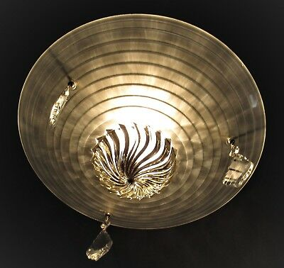 Vtg Deco Sputnik 3 Chain Glass Shade Ceiling Light Chandelier Fixture Crystals