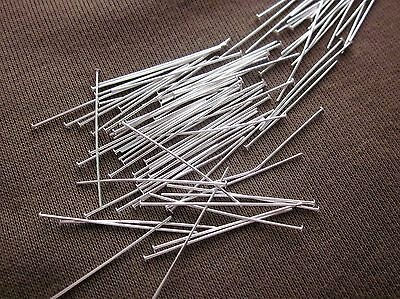 50 Silver Coloured Brass 38mmx0.7mm Headpins Head Pins #3419 Jewellery Making