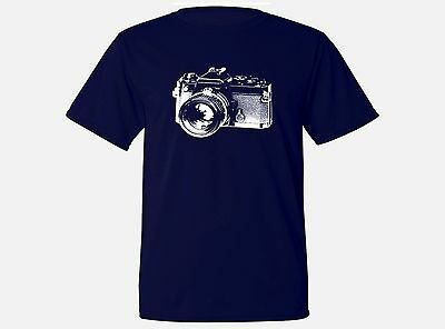 Old vintage retro photo camera sweat proof fabric navy blue workout top t-shirt