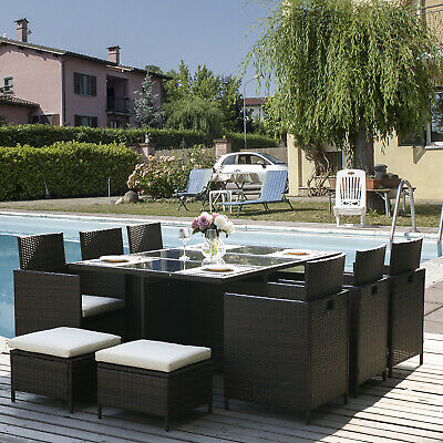 Rattan Dining Set Garden Table and Chairs Outdoor Furniture Set (11 PCS-Brown)