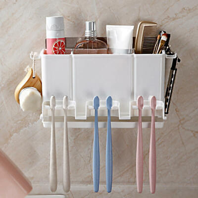 1pc Toothpaste Toothbrush Holder Home Bathroom Wall Mount Stand Storage Rack