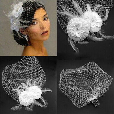 White Bridal Wedding White Birdcage Face Veil Flower Feather Hair Comb Hairpin