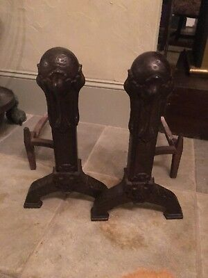 1920's Arts And Crafts Iron Fireplace Fire Irons