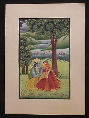 Old Vintage Paper Painting Lord Of Radha Krishna Water Color Hand Painting 03