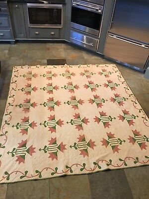 Outstanding North Carolina 1860's Vintage Southern Quilt Measures 81 X 87