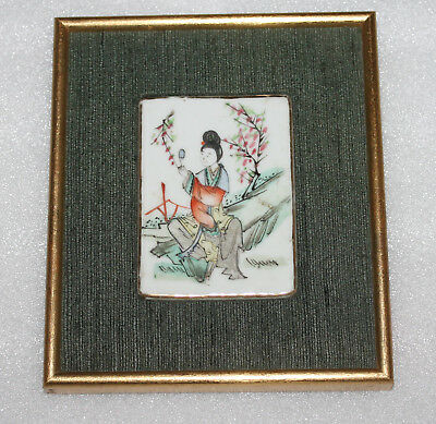 A C19th Chinese Cantonese Famille Rose Lady Porcealin Plaque in Gilt Frame B