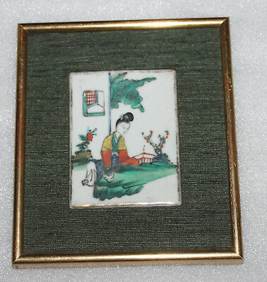 A C19th Chinese Cantonese Famille Rose Lady Porcealin Plaque in Gilt Frame C