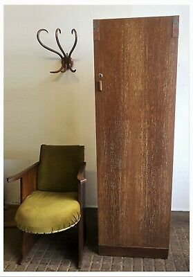 Art Deco E Gomme Limed Oak Halldrobe / Wardrobe With Original Painted Detailing