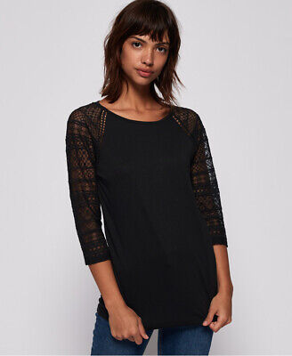 New Womens Superdry Embroidered Long Sleeve Raglan Top Midnight Sky Black
