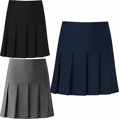 Girls Women All Round Half Drop Pleated School Skirt Ladies Plain Side Zip Skirt