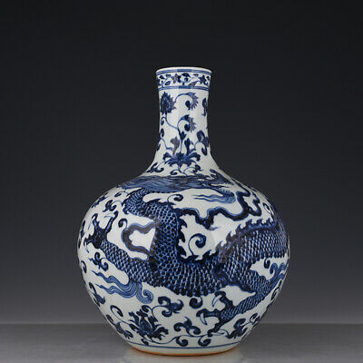 "18"" Chinese old Porcelain ceramics Ming yongle blue white dragon big belly vase"