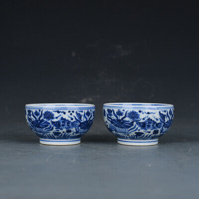 """3"""" A pair Chinese old Porcelain Ming xuande mark blue white fish algae cup"""