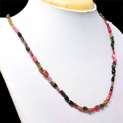 65.00 Cts Earth Mined Untreated Watermelon Tourmaline Beads Necklace NK 32E64