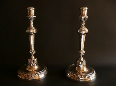 Fine French Louis XV 1760 Antique Classical Candlesticks Silvered Bronze 11""