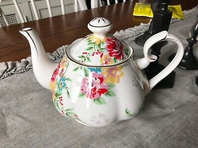 Grace's Teaware Shabby Rose Cream  Teapot New  Very Shabby Chic