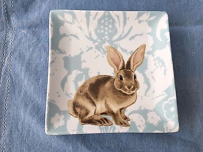 Grace's Teaware Blue Damask Bunny 3 Salad/Luncheon Plates New