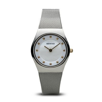 BERING Classic 27mm Brushed Silver Swarovski Markers Womens Watch 11927-004