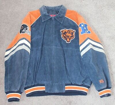 Wholesale CHICAGO BEARS SUEDE Leather Jacket with Sewn Logos 2X BLACK BLUE  hot sale